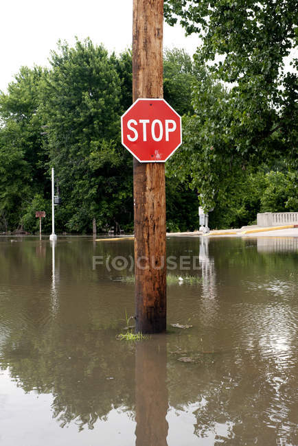 Stop sign on flooded street — Stock Photo