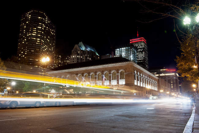 Light trails from traffic on city street at night — Stock Photo