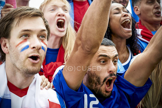 French football fans watching football match — Stock Photo