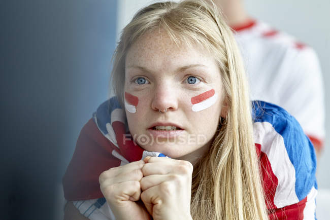 Closeup portrait of cheering English soccer fan — Stock Photo