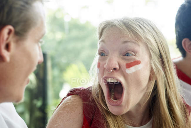 English soccer fans screaming during match — Stock Photo