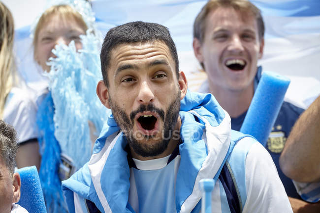 Argentinian Football Fans Cheering At Match Color Image Sport