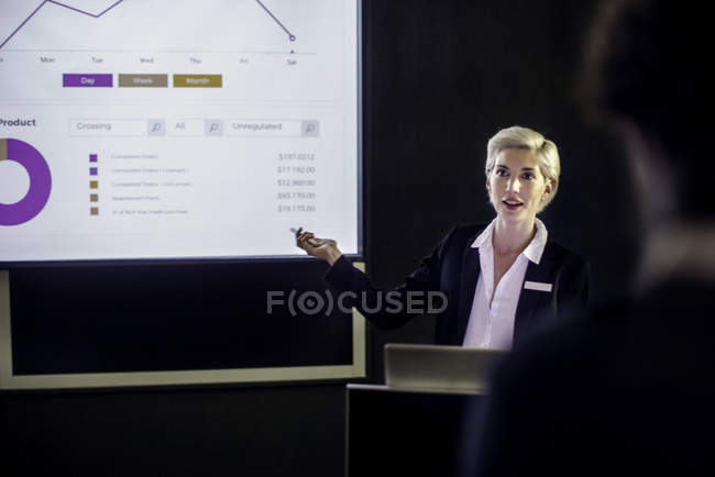 Woman giving presentation on projection screen — Stock Photo