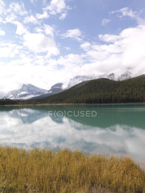 Краєвид з річки і гори — стокове фото