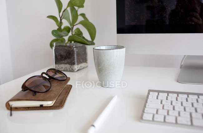 Work place with computer monitor — Stock Photo