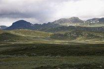 Blick auf Wiese in Bergen — Stockfoto