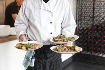 Male chef serving plates with meat and potatoes in sauce — Stock Photo