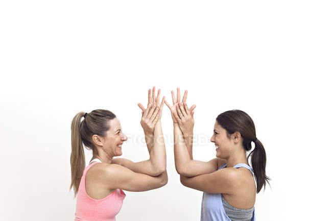 Женщины, сражающиеся вместе — стоковое фото