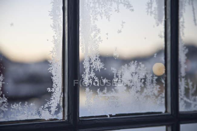 Вид Морозные окна — стоковое фото
