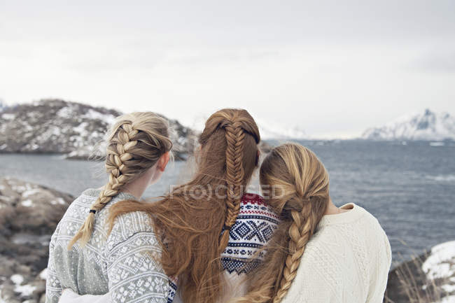 Rear view of women in sweaters with braids looking at sea — Stock Photo