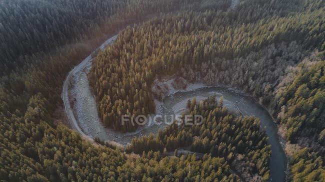 Pendant la journée vue aérienne de la rivière de montagne s-forme plier — Photo de stock