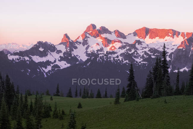 Distant view of mountains lightened by sunset, Mount Rainier National Park, Washington, USA — Stock Photo