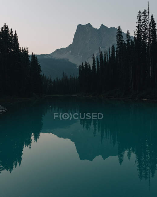 Mountains and forest reflected in Emerald Lake, Yoho National Park, Canada — Stock Photo