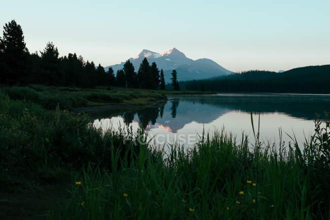 Отдаленное представление гор и лесов, отражено в спокойное озеро воды — стоковое фото