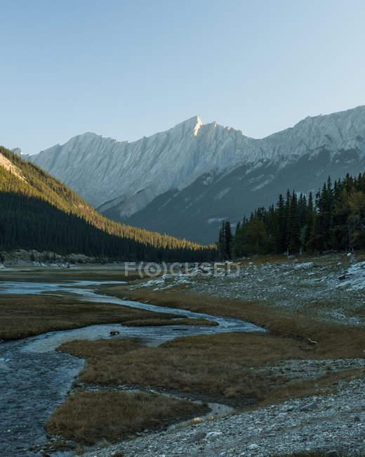 Денного зору mountainscape з річки біля озера медицина, Національний парк Джаспер — стокове фото