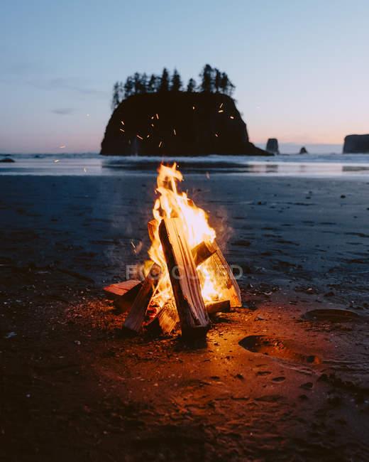 Bonfire on Second Beach, Olympic Peninsula, La Push, Washington — Stock Photo