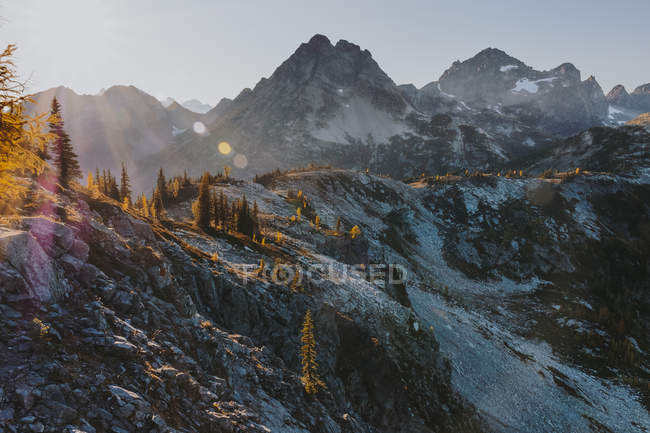 Distant view of mountain ridge in the evening — Stock Photo