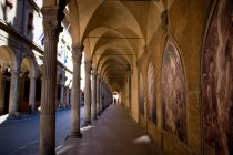 Ancient corridor with colonnade, Bologna — Stock Photo