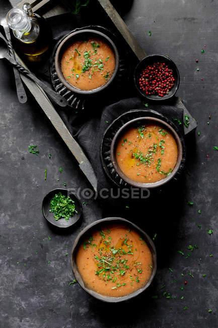 Приготування гаспачо - холодні томатний суп — стокове фото