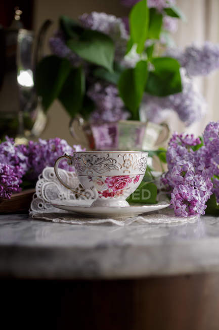 Vintage cup of tea — Stock Photo