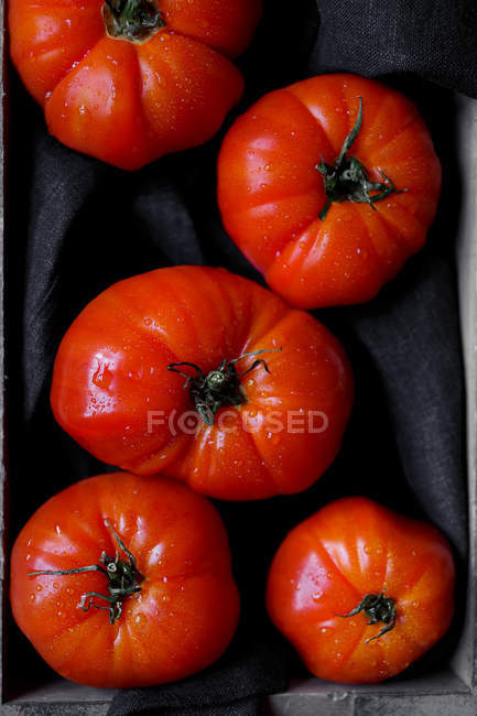 Fresh ripe red tomatoes on black fabric — Stock Photo