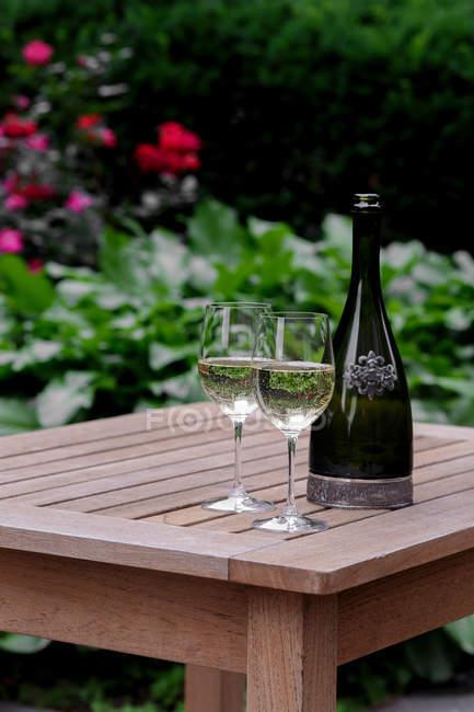 Окуляри і пляшки білого вина на дерев'яний сад стіл — стокове фото