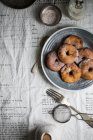 Apple donuts with cinnamon icing sugar — Stock Photo