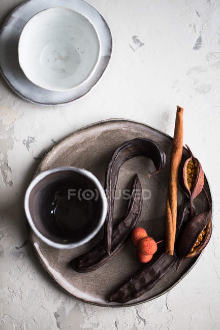 Plate with exotic dried fruits — Stock Photo
