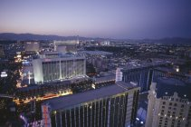 Aerial view of illuminated buildings and rooftops of Las Vegas — Stock Photo