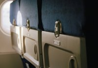Close up view of back side of airplane seats — Stock Photo