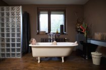 A woman taking a bubble bath in a claw foot tub — Stock Photo