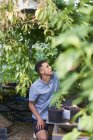 Focused Young man harvesting in garden — Stock Photo