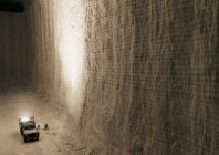 High angle view of pick-up truck riding at underground salt mine — Stock Photo