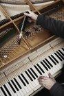 Reparador de colheitas mãos afinando no piano de cauda — Fotografia de Stock