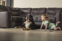 Девушка с пограничной колли расслабляется на диване в гостиной — стоковое фото