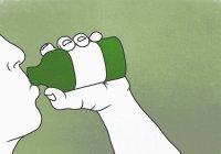 Illustrazione di persona che beve veleno sullo sfondo verde — Foto stock