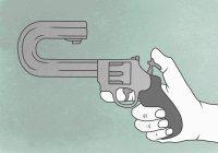 Illustration représentant le suicide d'un pistolet à main avec canon incurvé — Photo de stock