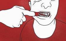Sezione centrale dell'uomo tirando bocca contro sfondo rosso — Foto stock