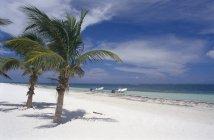 Идиллический пейзаж тропический пляж с пришвартованными лодками — стоковое фото