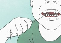 Illustration of person pulling teeth with string — Stock Photo
