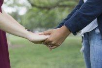 Міделю молодої Гомосексуальні пари, тримаючись за руки на парк — стокове фото