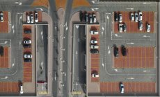 Directly above shot of cars in parking lot — Stock Photo