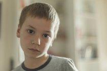 Портрет хлопчик з каштанове волосся в домашніх умовах — стокове фото