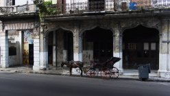 Horse and cart at shabby facade on street — Stock Photo