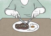 Illustrazione della donna che taglia la bistecca sul piatto a tavola — Foto stock