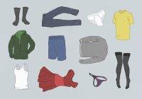 Різні одягу на сірому тлі — стокове фото