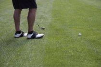 Faible section de golfeur permanent sur fairway — Photo de stock