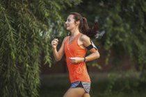 Sporty young woman jogging at park — Stock Photo