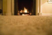 Ebene Oberflächenansicht von Wohnraum mit Log fire — Stockfoto