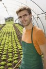 Portrait of man in apron standing in greenhouse — Stock Photo